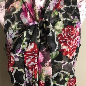 Etcetera sleeveless floral silk blouse